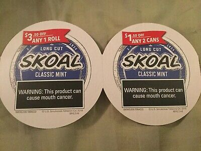 Skoal Coupons Save $5 Total, $1.50 Off 2 Cans, $3.50 Off 1 Roll Expire 5/31/2020