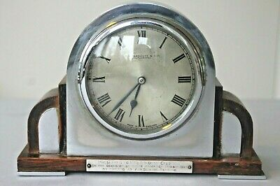 Vintage art deco clock oak and chrome 1930's not working for repair