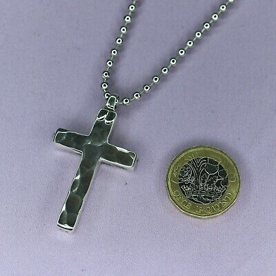 Mens Heavy Sterling Silver Solid Hammered Cross Pendant