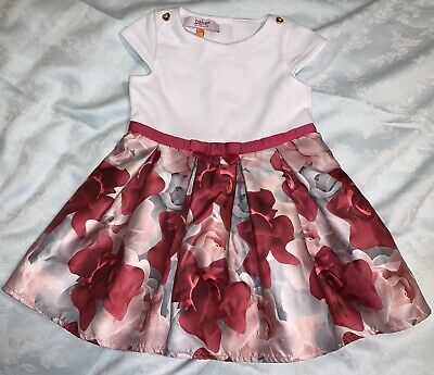 STUNNING  TED BAKER BABY GIRLS PORCELAIN ROSE PARTY DRESS AGED 12-18m