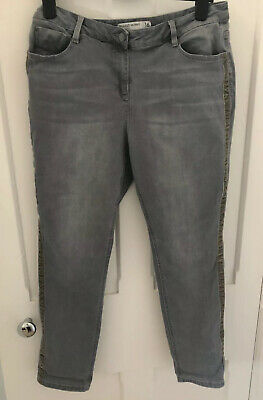 Ladies Next Relaxed Skinny Mid Rise Jeans Grey Size 16