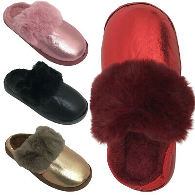 New Ladies Fur Lined Slippers Mules Slip On Warm Women Shoes Size UK 3 4 5 6 7 8