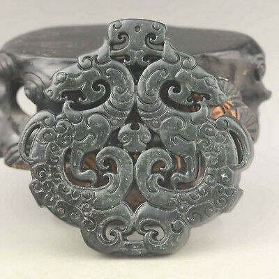 Old Chinese natural jade hand-carved statue double dragon and xi  pendant