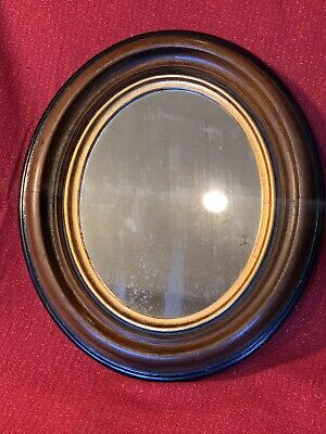 Large Antique Victorian OVAL Walnut Deep Well Picture Frame With MIRROR