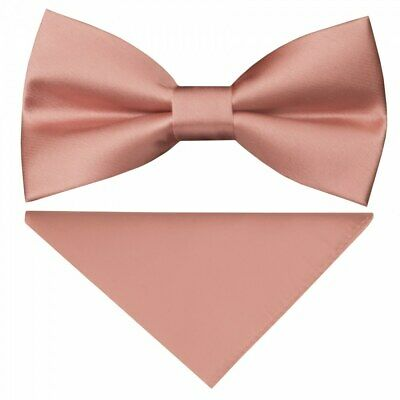 Pre Tied Dusty Rose Satin Silk Boys Bow Tie and Pocket Square Set Wedding Tie