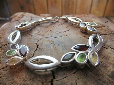 Sterling silver Multi Gem Gemstone Bracelet Garnet Citrine Peridot Smoky Quartz
