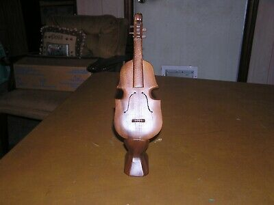 "Wooden hand carved Crafted Violin On stand 10"" long"
