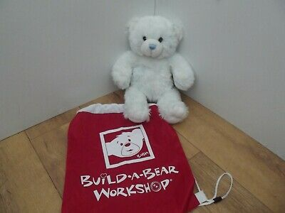Build-A-Bear Workshop boys white with blue tinted fur teddy bear/bag great gift