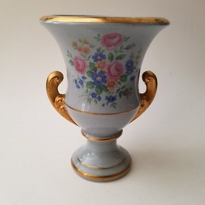 Small Porcelain Urn Planter Vase Light Blue with Flowers and Gold Trim