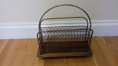 Antique Magazine Rack - Oak & Brass - Dated C1880 - Arts & Crafts - S. Hall