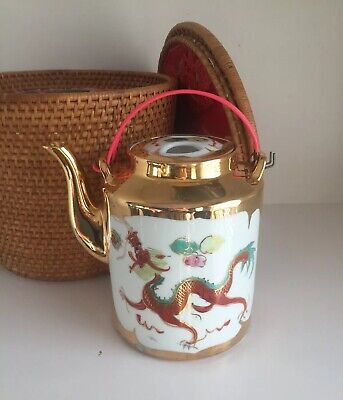 Vintage Chinese Teapot Porcelain Gold Dragon Hand Painted Woven Basket Cozy