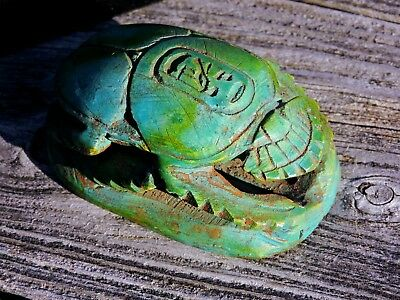 Ancient Egyptian Vintage Faience Statue Handmade Scarab Khepri Sculpture