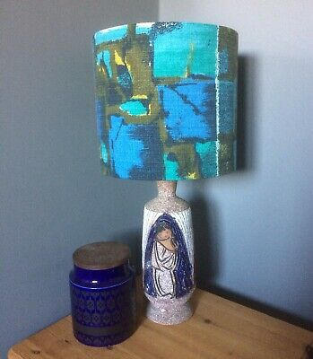 Vintage Fabric 60s 50s  Lampshade MID CENTURY Blue Olive Abstract BARKCLOTH