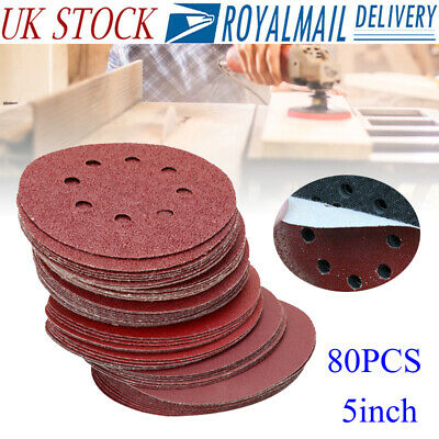 80pc Hook and Loop 125mm Sanding Discs Pads Random Orbital Circular Sandpaper LO