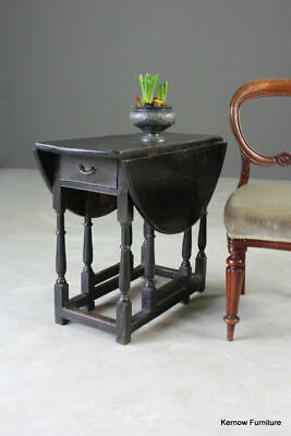 Antique Victorian Small Oval Ebonised Oak Drop Leaf Occasional Side Table