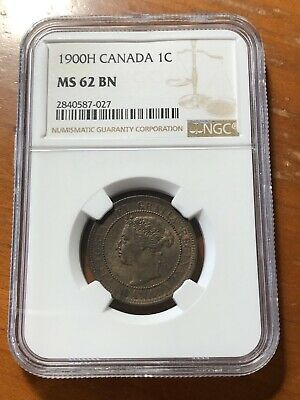 Canada 1900 H 1 Cent Penny - NGC MS62 BN