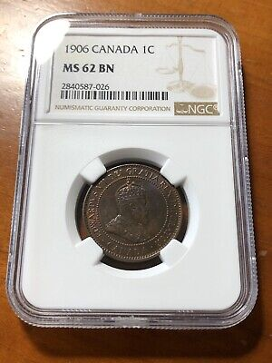 Canada 1906 1 Cent Penny - NGC MS62 BN