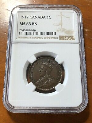 Canada 1917 1 Cent Penny - NGC MS63 BN