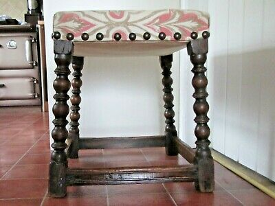 Antique Pegged Oak Joint Style Dressing Stool. Turned legs, upholstered top