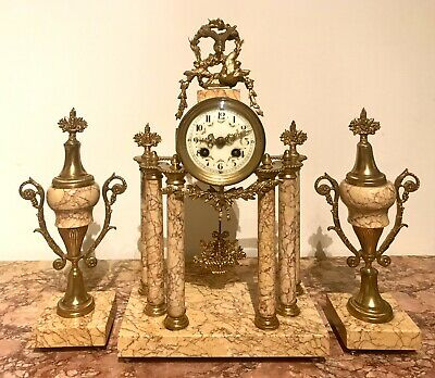 Antique French Gild Metal And Siena Marble Portico Clock With Garnitures