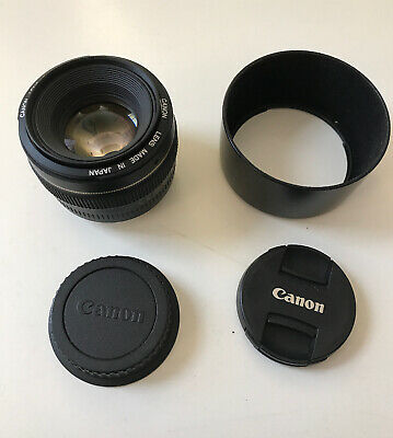 Canon EF 50mm f/1:1.4 USM Lens With ES-71ii Lens Hood - Mint Condition