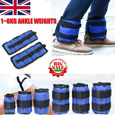 1-6KG Wrist & Ankle Weights Leg Strap Adjustable Strength Run Fitness Training