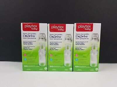 Three Brand New Boxes 100-Count Each Playtex Baby Drop-Ins Liners 8-10 oz.