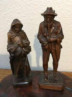 Vintage Hand Carved Wood Figures Man & Wife Oberammergau Germany W M Heinzeller