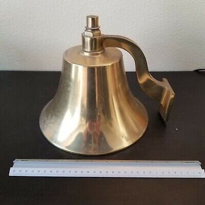 Large 9.5 Inch Antique Solid Brass Wall Ship Bell With Bracket 10lbs Loud
