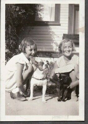 Vintage Photograph 1930S Girls Fashion Boston Terrier Dog/Puppy Cat/Kitten Photo