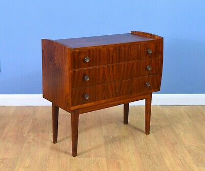 Mid Century Retro Vintage Danish Three Drawer Rosewood Chest of Drawers 1960s