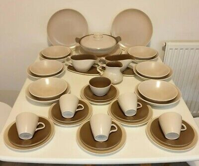 Poole Pottery Tableware Dinner Service Twintone Mushroom and Sepia 42 Pieces