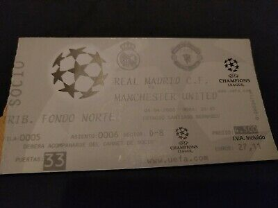 entrada ticket real madrid manchester united champions league