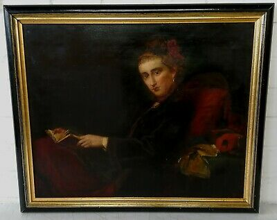 19Th Century Oil On Canvas Portrait Of A Lady Reading - Antique Painting
