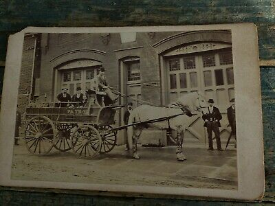 antique cabinet card photo horse drawn fire wagon 1870s fireman keystone pa