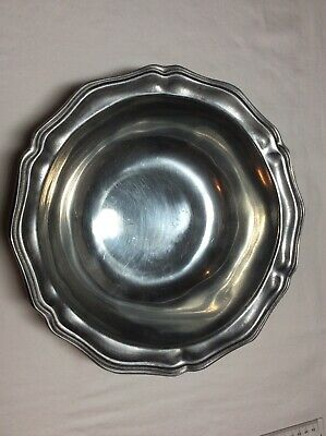"""VINTAGE WILTON ARMETALE PEWTER QUEEN ANNE 10 1/2"""" SERVING BOWL RWP Columbia PA"""
