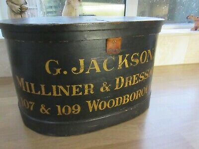 Vintage/Antique Wooden Leather Covered Hat Box