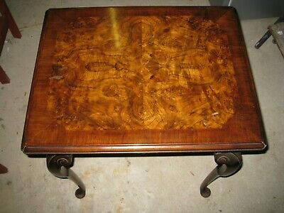 Antique Solid Wood & Burr Walnut Veneered Queen Anne Style Table