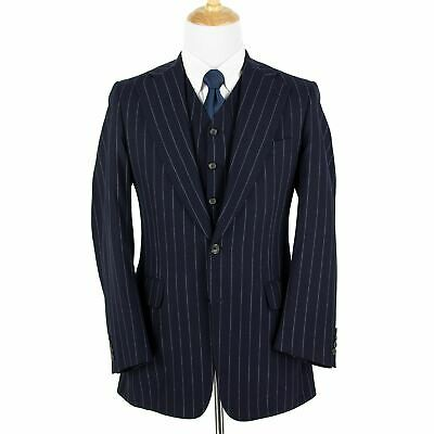 Paul Stuart 3-Piece Navy S100s Wool Cashmere Pinstriped Vented 2Btn Suit 39L