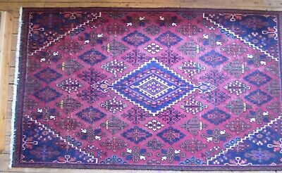 Antique Oriental Wool Rug, 238 x 140 cm Multi Colour Red Blue Valued at £700