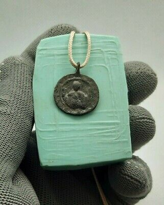 RARE ORTHODOX MEDAL VIRGIN MARY MOTHER OF GOD OF THE SIGN PANAGIA 12-13th cen.