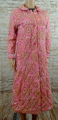 Womens Vintage pink floral nylon Quilted dressing gown robe BRETTLES size 10 12