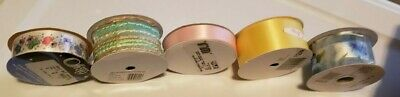 LOT OF 5 ROLLS OF OFFRAY DESIGNER RIBBON ROLLS assorted Colors