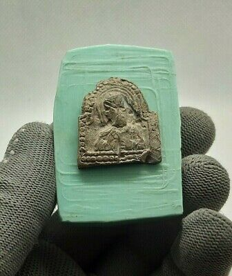 RARE ANTIQUE LARGE ORTHODOX Lead Icon ST. NICHOLAS THE WONDERWORKER 12-13th cen