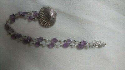 Real Silver Shell With Semi-precious Gem Amethyst And Moonstone Silver Necklace