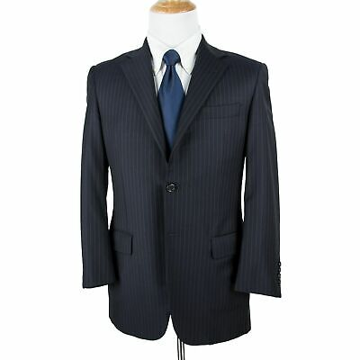 RECENT Hickey Freeman Navy Blue Worsted Wool Pinstripe Dual Vents 2Btn Suit 38R