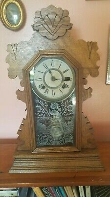 Antique Ansonia Gingerbread chime mantle clock, working, with key, circa 1900