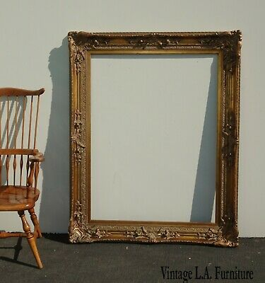 Large 58x44 Vintage French Provincial Ornate Gold Picture Frame