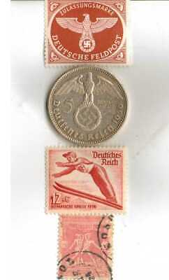 #-1-)-*1936-*german+1896-*greek OLYMPIC Stamps and Silver coin+*us- W.L.-.50 c