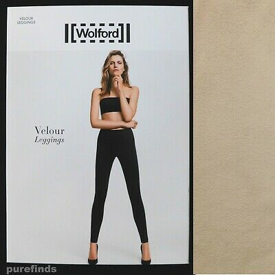Wolford Velour Light Beige Leggings Size 38 Uk 10 Suede Effect Rrp £225